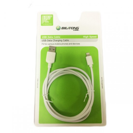 Кабел USB Bilitong 1.5м - iPhone 5/6,6s,6 Plus,6+/7,7 Plus,7+/8,8 Plus,8+/XR/XS,XS Max, Бял