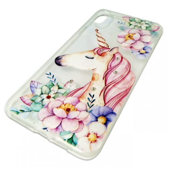 Back Case BSmart Design with Stones - iPhone XR, Unicorn