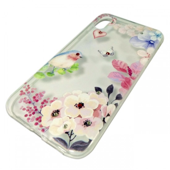 Back Case BSmart Design with Stones - iPhone XR, Flowers with bird