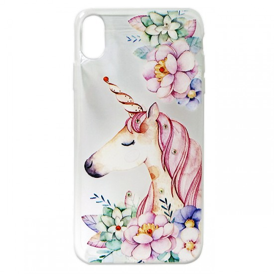 Back Case BSmart Design with Stones - iPhone XS Max, Unicorn