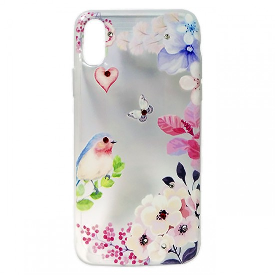 Back Case BSmart Design with Stones - Xiaomi Mi 9T, Flowers with bird