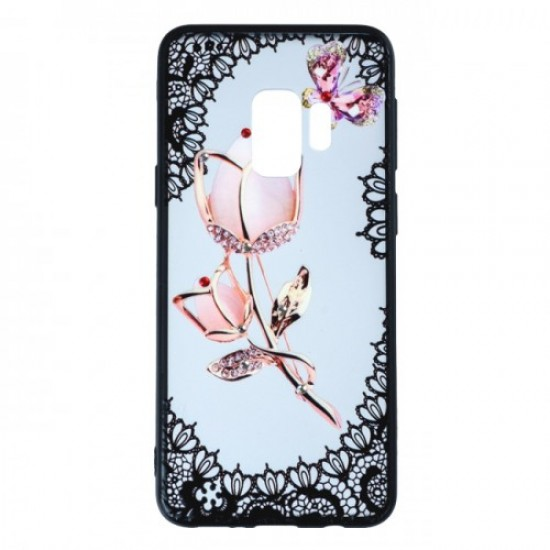 Back Case BEAUTY with Stones - Huawei P30, White Rose with Butterfly