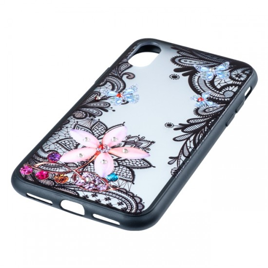 Back Case BEAUTY with Stones - iPhone 6 (4.7), Flower with Butterflies