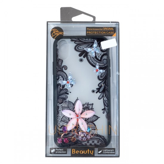 Back Case BEAUTY with Stones - iPhone 7/8 (4.7), Flower with Butterflies