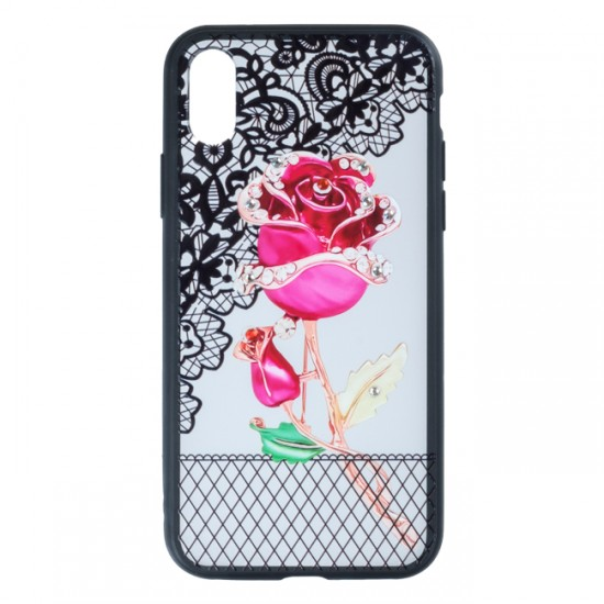 Back Case BEAUTY with Stones - iPhone X / XS, Red Rose