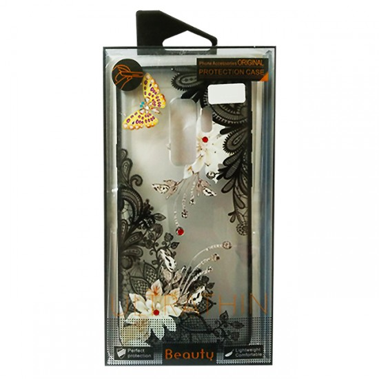 Back Case BEAUTY with Stones - iPhone X / XS, Flowers & Gold Butterfly