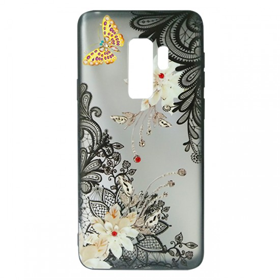 Back Case BEAUTY with Stones - iPhone XR, Flowers & Gold Butterfly