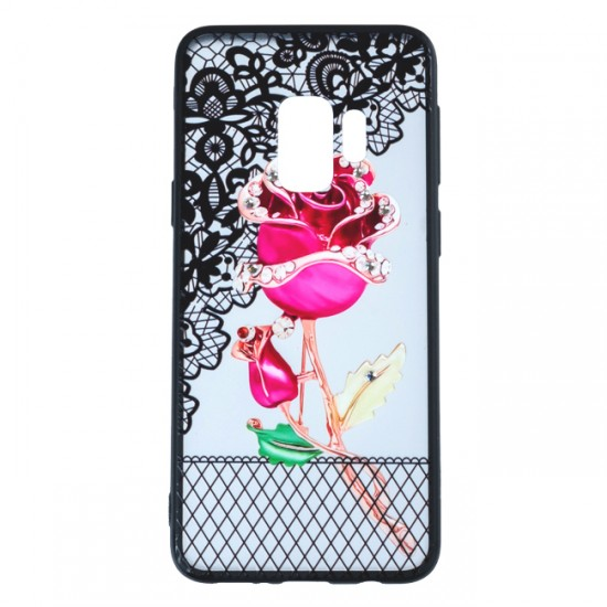 Back Case BEAUTY with Stones - Samsung G950 Galaxy S8, Red Rose