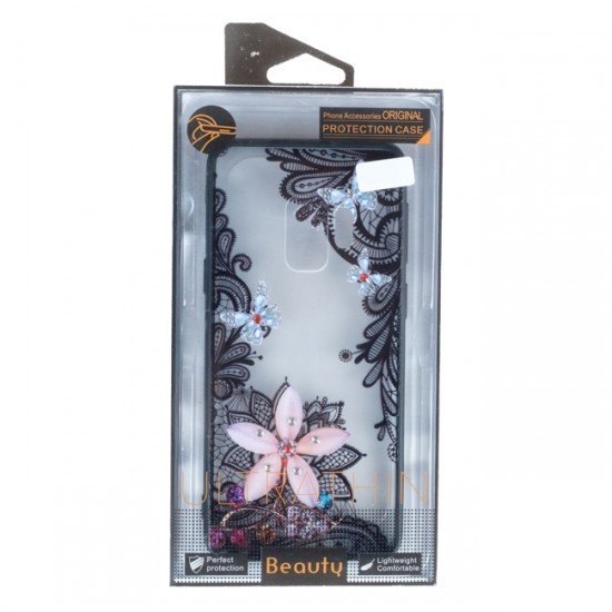 Back Case BEAUTY with Stones - Samsung G960F Galaxy S9, Flower with Butterflies