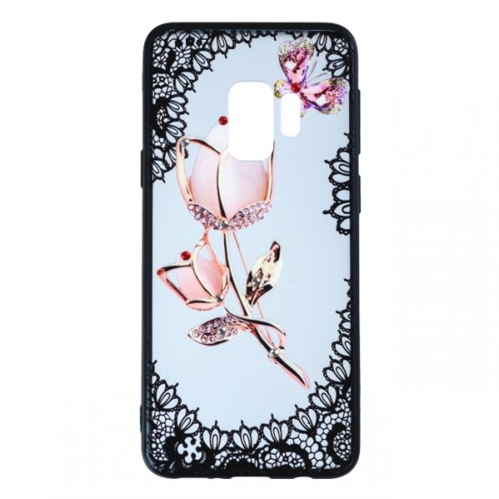 Back Case BEAUTY with Stones - Samsung G965F Galaxy S9 +, White Rose with Butterfly
