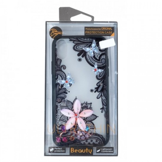 Back Case BEAUTY with Stones - Samsung Galaxy Note10, Flower with Butterflies