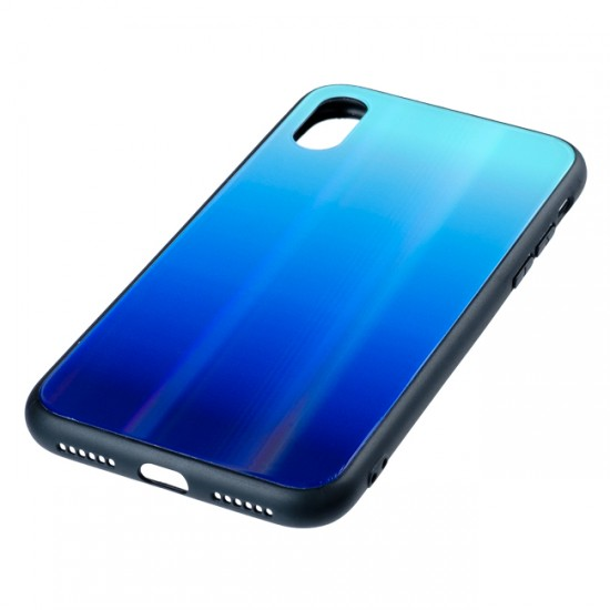 Back Cover bSmart Shiny Glass Case - iPhone X/ XS, Dark and light blue