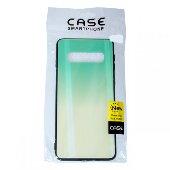 Back Cover bSmart Shiny Glass Case - Samsung G975F Galaxy S10+, Mint and yellow