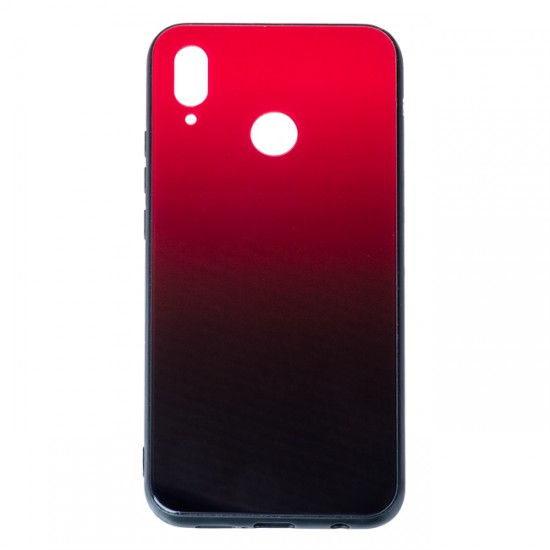 Back Cover Glass Case - Huawei P Smart (2019), Red and black