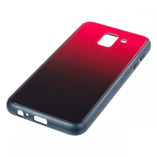Back Cover Glass Case - Samsung A750F Galaxy A7 (2018), Red and black
