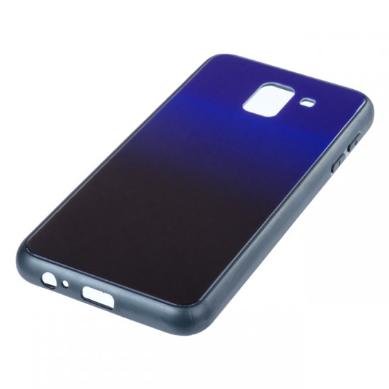 Back Cover Glass Case - Samsung A750F Galaxy A7 (2018), Dark blue and black