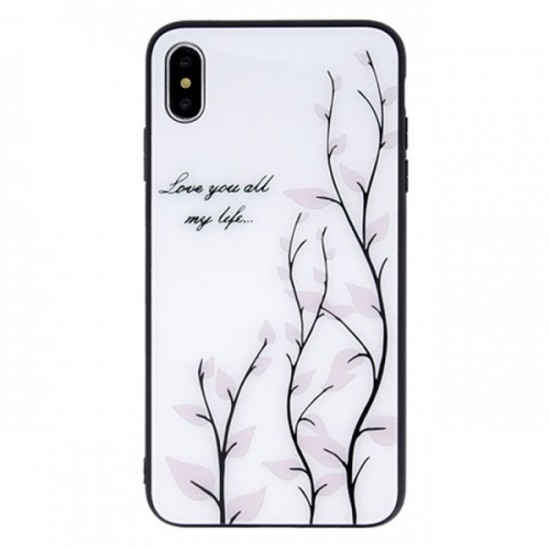 Back Cover Magic Glass Case - Huawei P30 Lite, White with Blossoms