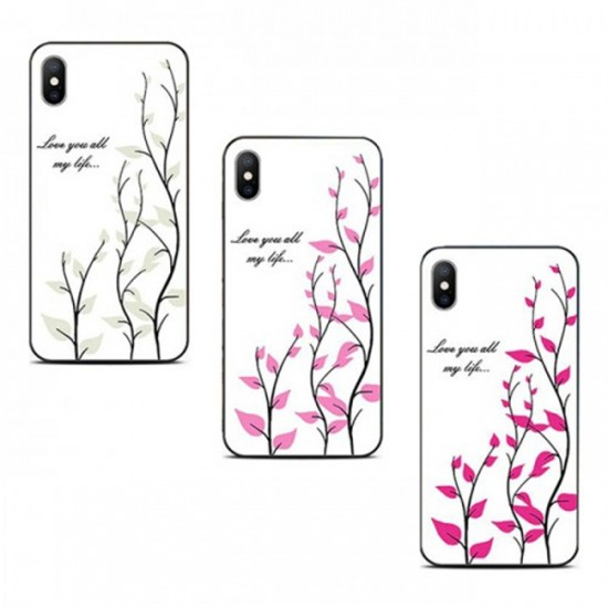 Back Cover Magic Glass Case - iPhone XS Max, White with Blossoms