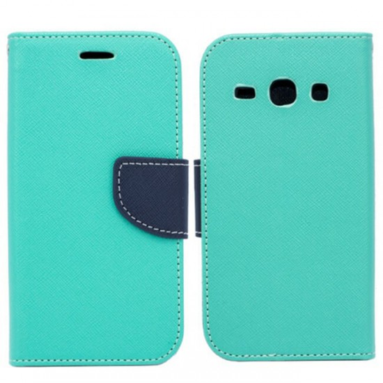 Book Flip Case Fancy - Samsung J730 Galaxy J7 (2017), Green / Blue