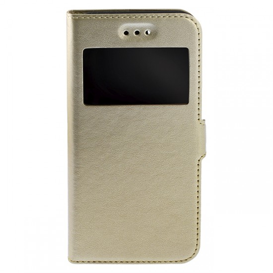 Bookcase iPAKY with 1 window - Huawei Ascend P9 Lite Mini, Gold