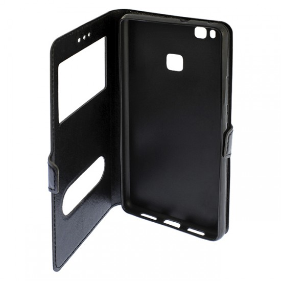 Bookcase iPAKY with 2 windows - Huawei Ascend P10 Lite, Black