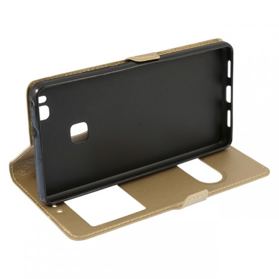 Bookcase iPAKY with 2 windows - Huawei Ascend P9 Lite, Gold