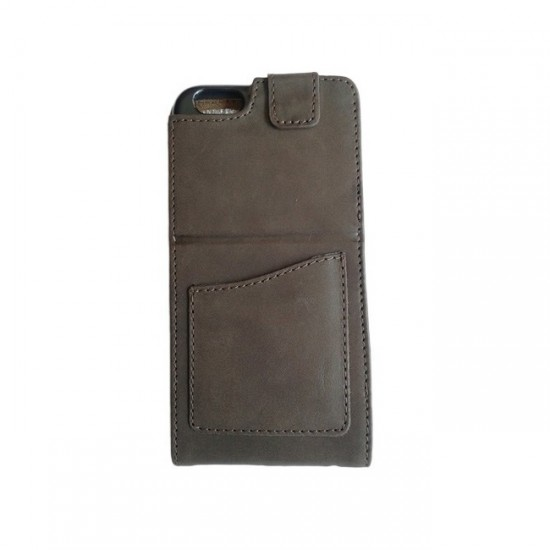 Book Case Cover MBX Real Leather - iPhone 6 (5.5), Brown