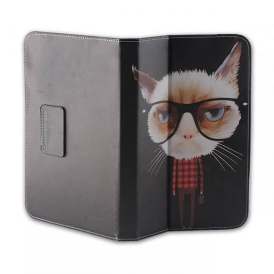 """Калъф за таблет MBX Fashion универсален 7-8"""" инча, Многоцветен, Котка"""