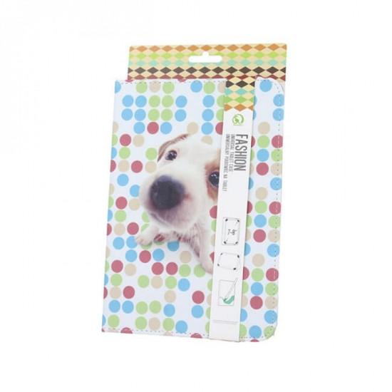 """Калъф за таблет MBX Fashion универсален 7-8"""" инча, Многоцветен, Кученце"""