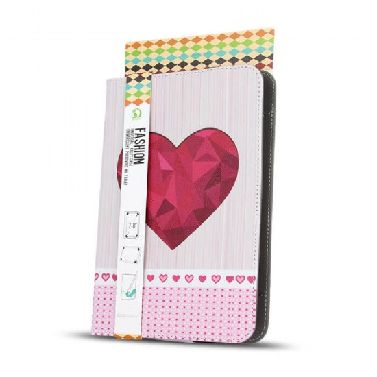 """Калъф за таблет MBX Fashion универсален 9-10"""" инча, Многоцветен, Цикламено сърце"""
