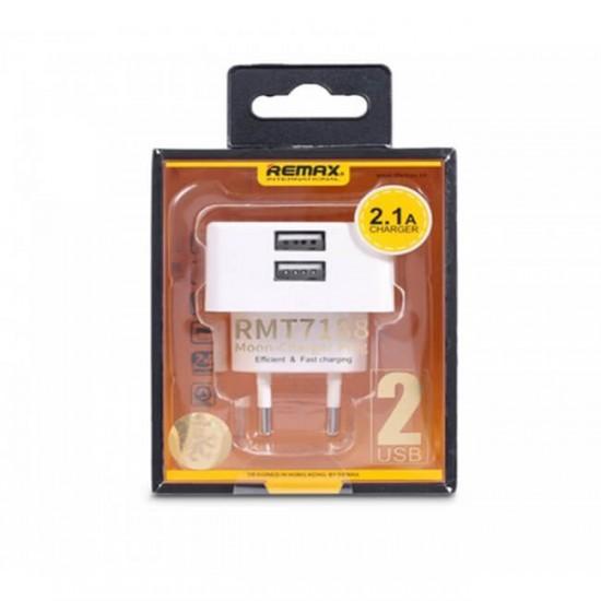 Мрежово зарядно устройство преходник адаптер Remax Fast Charge с 2 USB изхода в кутия 220V, 2.1A