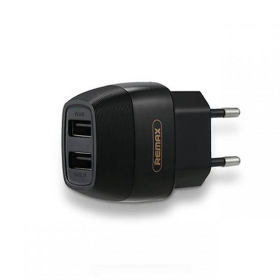 Мрежово зарядно устройство преходник адаптер Remax Flinc с 2 USB изхода в кутия 220V, 2.1A