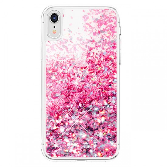 Silicone Back Case MBX with Liquid and Brocade - Huawei P30 Lite, Pink